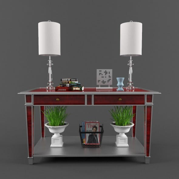 Console with plant - 3DOcean Item for Sale