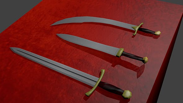 Three types of swords - 3DOcean Item for Sale