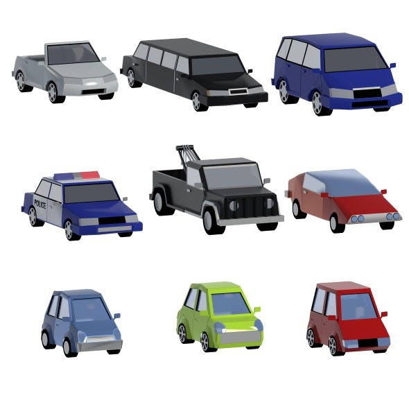 Lowpoly cars set