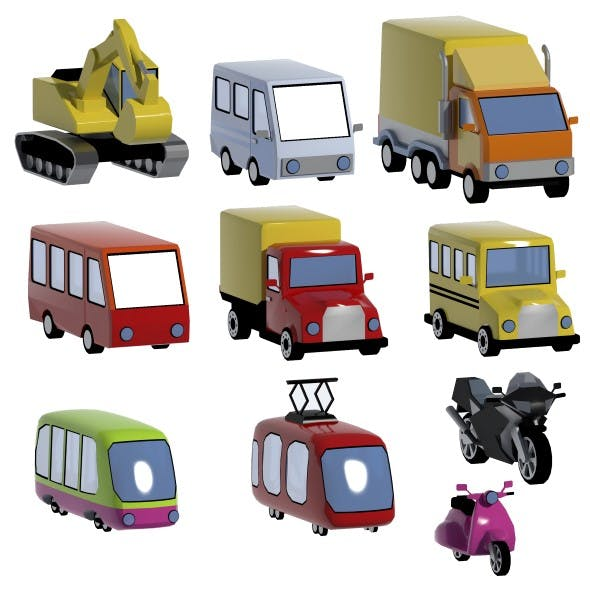 Lowpoly vehicles set