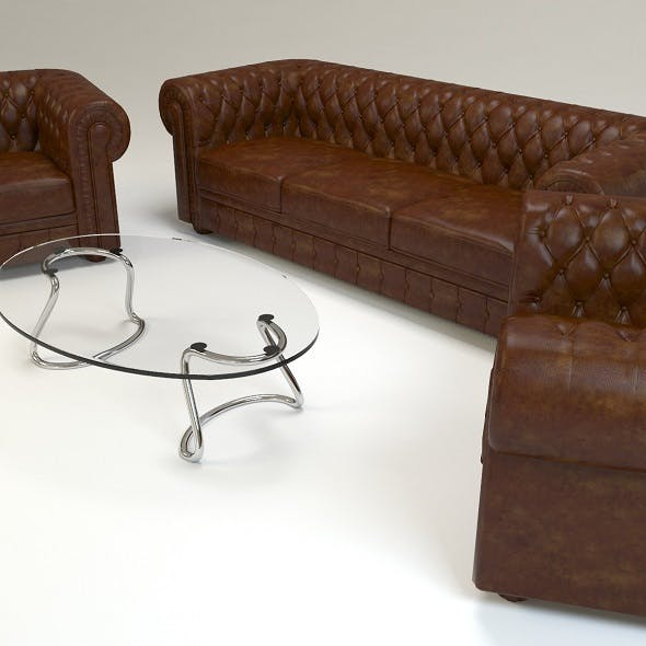 chesterfield set sofa chairs classic - 3DOcean Item for Sale