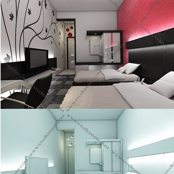 Realistic Modern bedroom 148