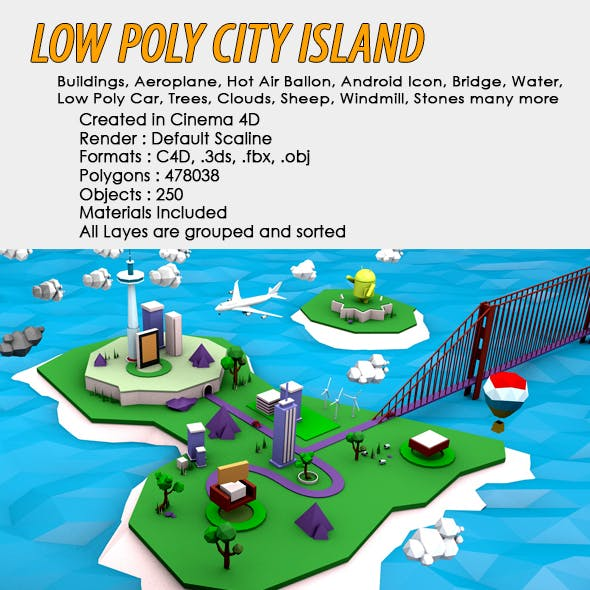 Low Poly City Island