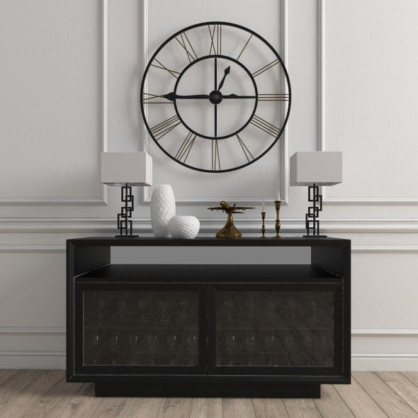 Chest of drawers with clock and decoration