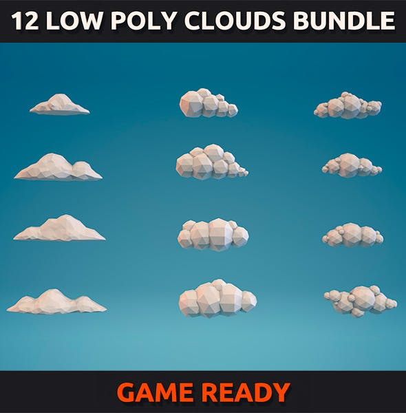 12 Low Poly Clouds Bundle - 3DOcean Item for Sale