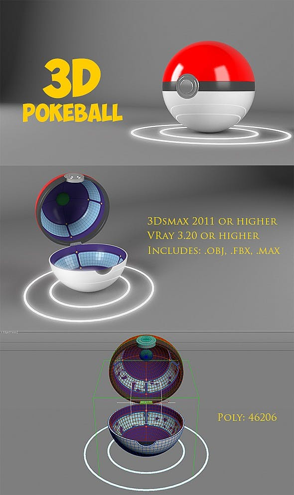 3D Pokeball - 3DOcean Item for Sale