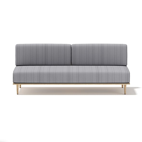 Grey Sofa with Wooden Frame