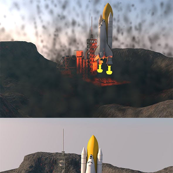 Launch the space shuttle in the mountains