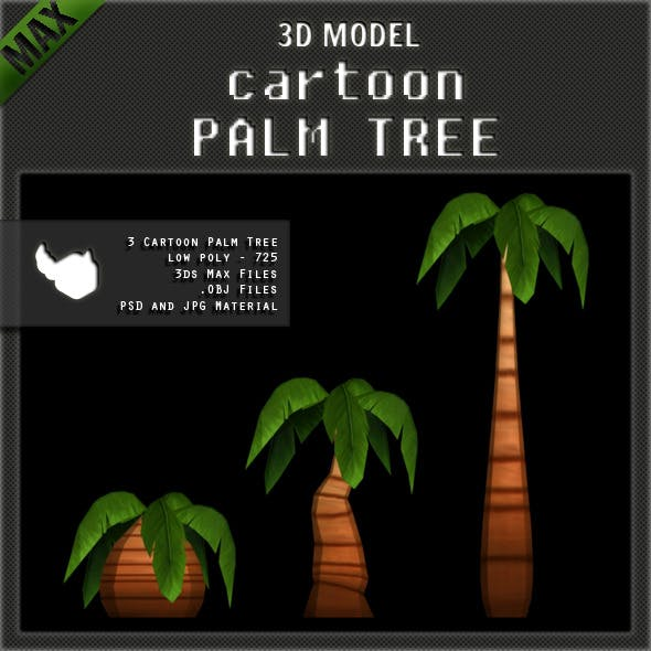 Cartoon Palm Tree - Low Poly - 3DOcean Item for Sale