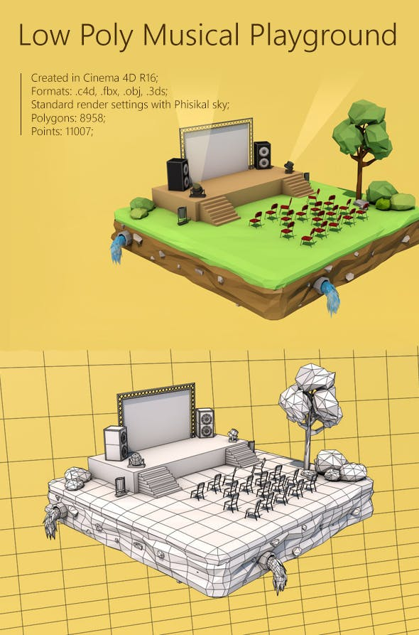 Low Poly Musical Playground - 3DOcean Item for Sale