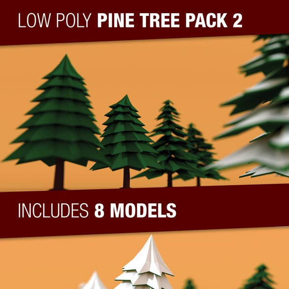 Low Poly Pine Trees Pack 2 with Snow