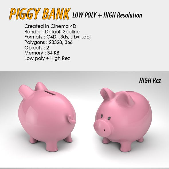 Piggy Bank Low, High Poly