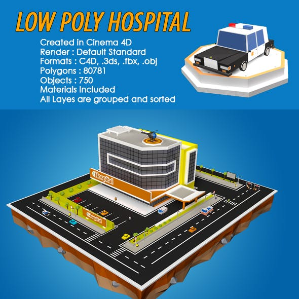 Low Poly Hospital Building