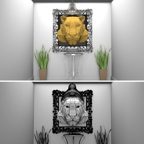 Lions Head in Polygons 3D Art