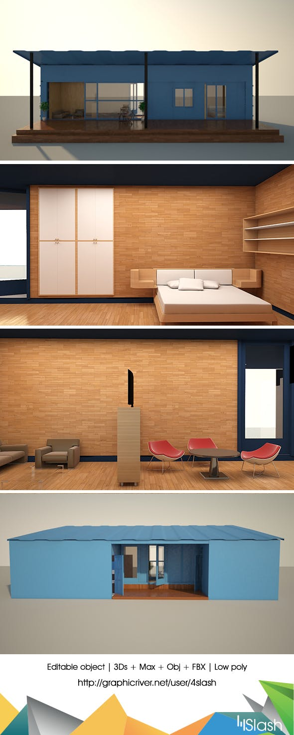 Portable Container House  - 3DOcean Item for Sale