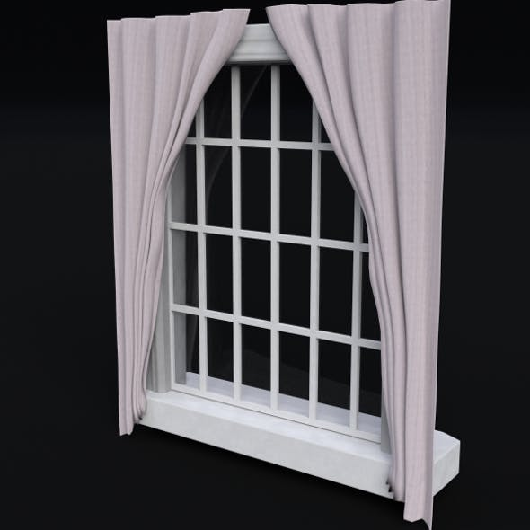Window with frame and curtains