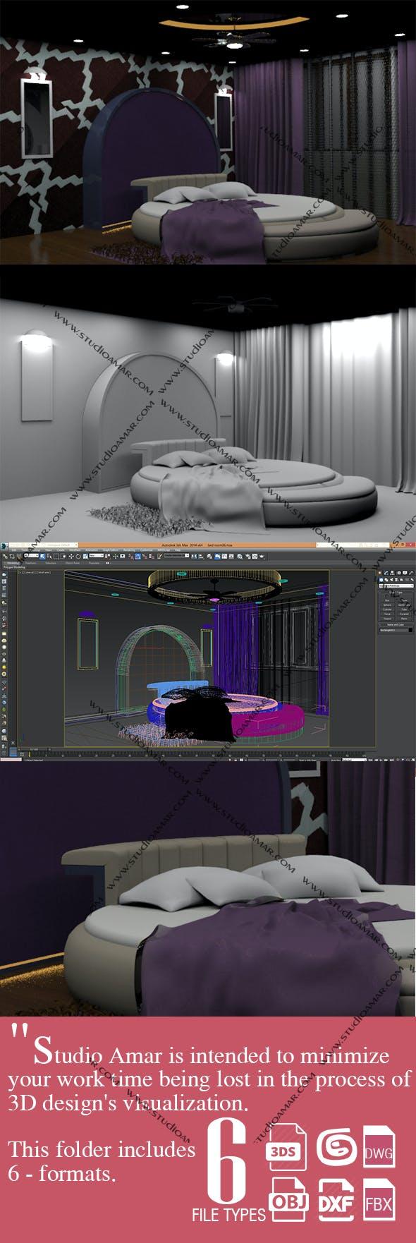 Trendy Bedroom interior 162 - 3DOcean Item for Sale