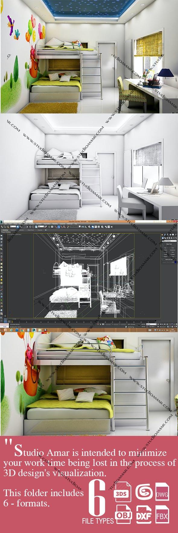 Modern Kids bedroom 171 - 3DOcean Item for Sale
