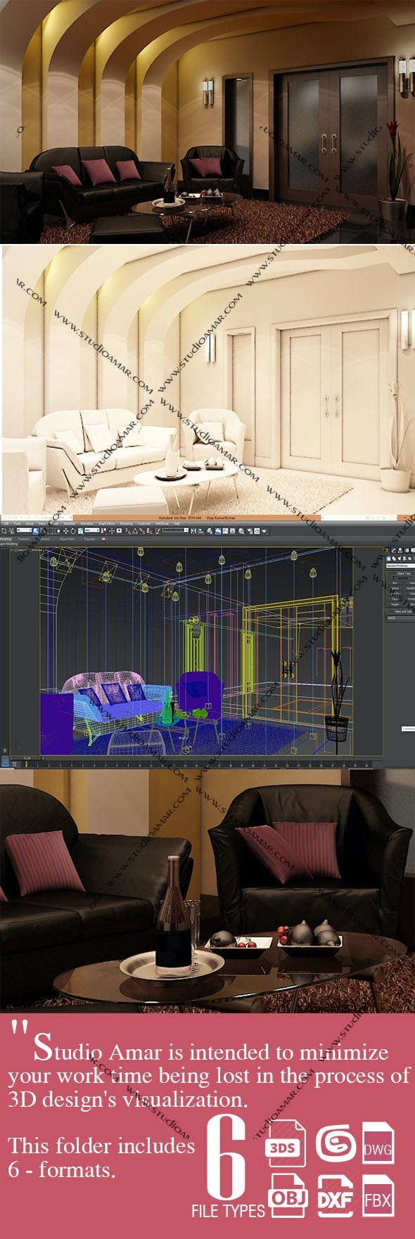 Luxury Living Room 185 - 3DOcean Item for Sale