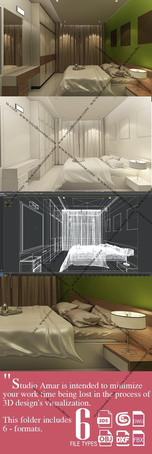 Realistic Bedroom 193 - 3DOcean Item for Sale