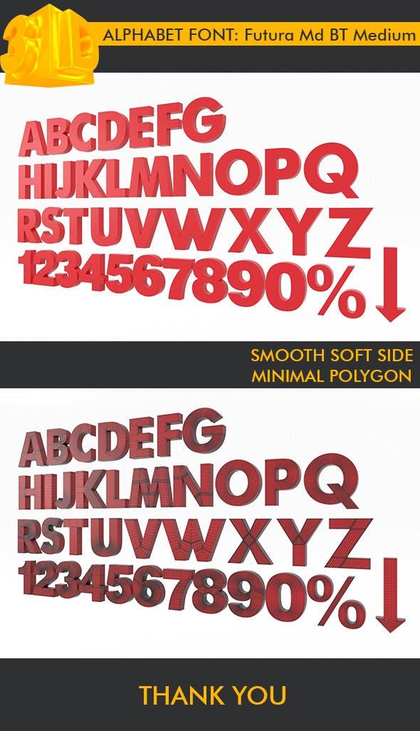 ALPHABET Font Futura Md BT Medium - 3DOcean Item for Sale