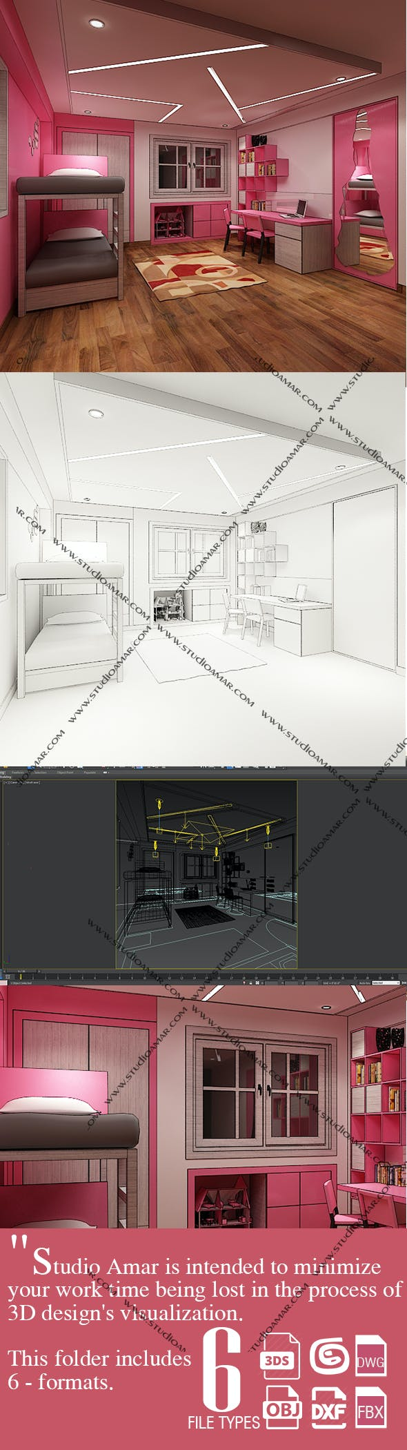 Trendy kids interior 208 - 3DOcean Item for Sale