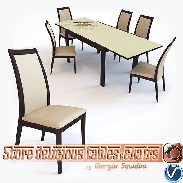 Chair CORTINA & Table NEW SMART G/4704-V dining set OLIVO & GODEASSI