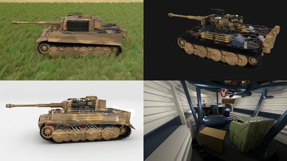 Fully built Panzer Tiger Tank Late 1944 HDRI v1 (interior and engine) - 3DOcean Item for Sale