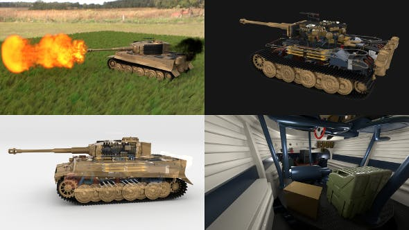 Fully built Panzer Tiger Tank Late 1944 v1 Firing HDRI (interior and engine) - 3DOcean Item for Sale