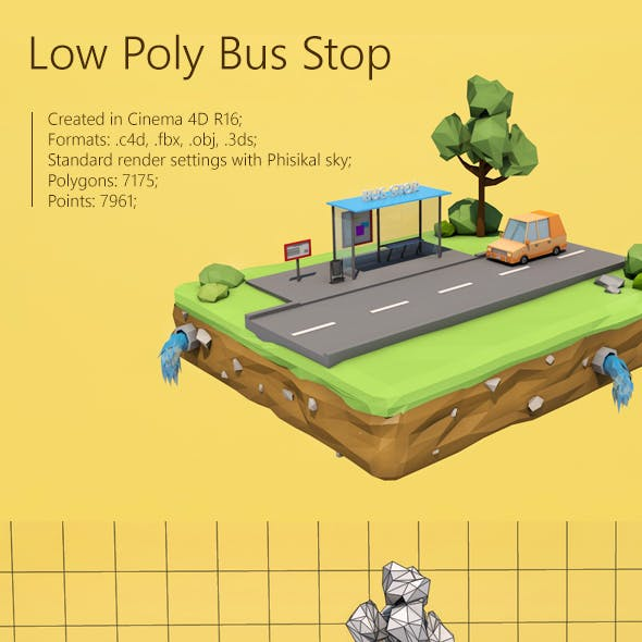 Low Poly Bus Stop