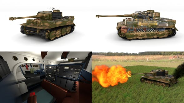 Fully built Panzer Tiger Tank Late 1944 v2 Firing - 3DOcean Item for Sale