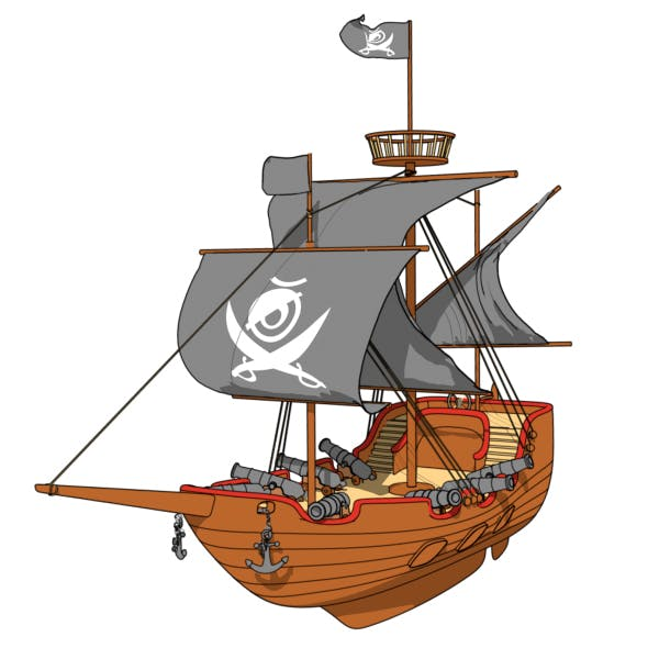 cartoon pirate ship by fullhpetrol 3docean usd