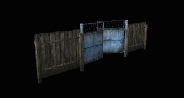 Metal Gate Blue - 3DOcean Item for Sale