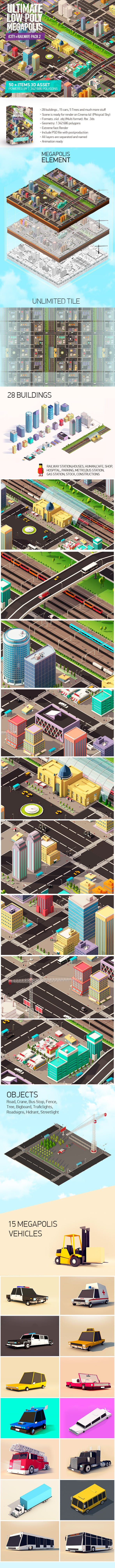 Ultimate Low Poly Megapolis Pack2 (City + Railway) - 3DOcean Item for Sale