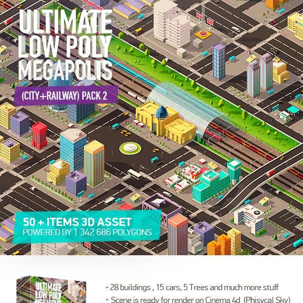 Ultimate Low Poly Megapolis Pack2 (City + Railway)