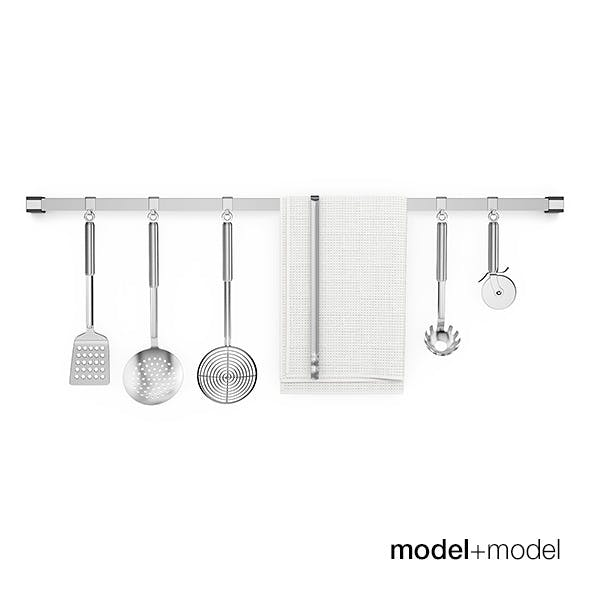 Kitchen tools on rail