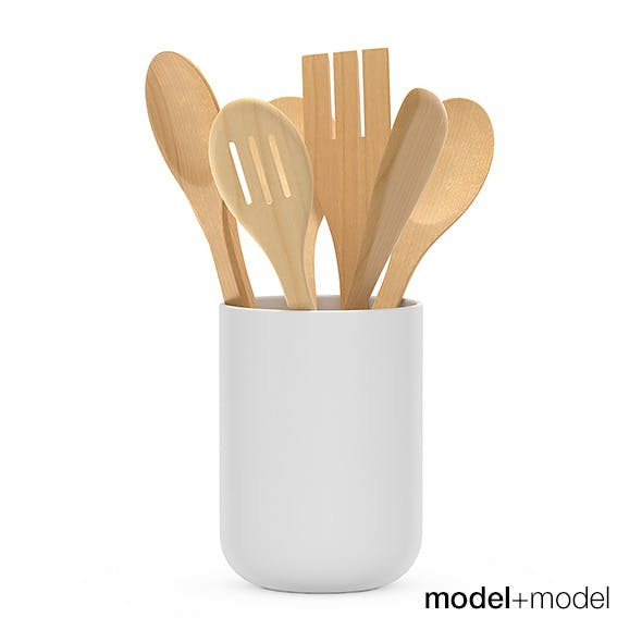 Kitchen wooden tools in a cup - 3DOcean Item for Sale