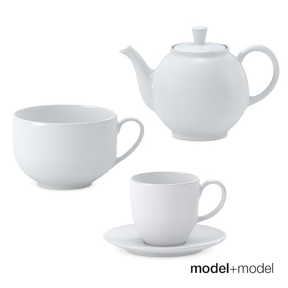 White ceramic tea set