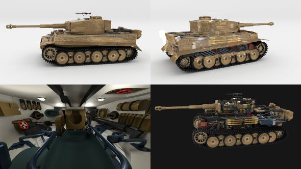 Fully built Panzer Tiger Tank Early (interior and engine) - 3DOcean Item for Sale