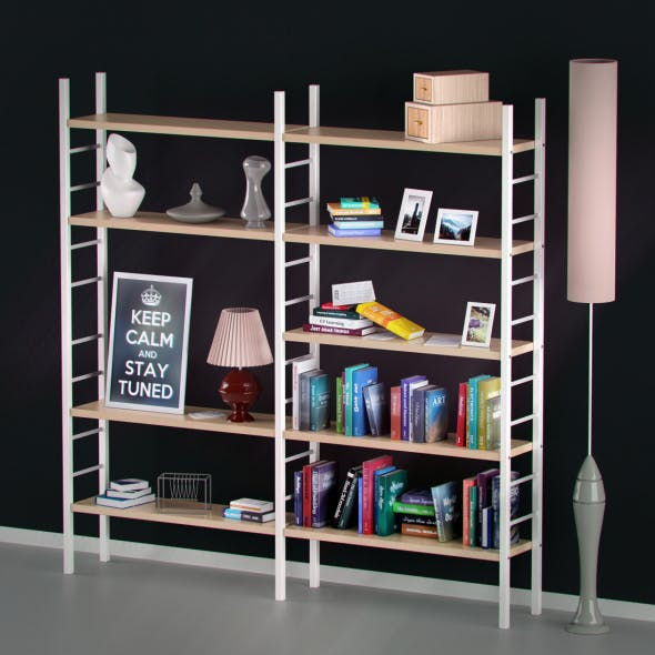 Bookshelf with books and decoration objects