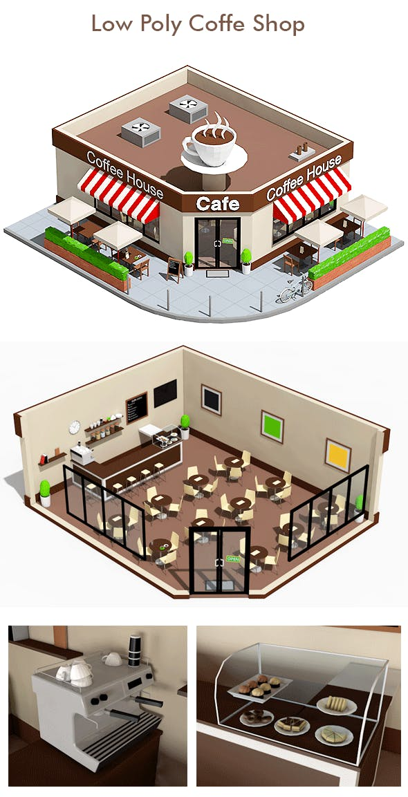 Low Poly Coffee Shop - 3DOcean Item for Sale