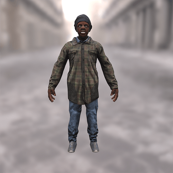 Afro urban homeless - 3DOcean Item for Sale