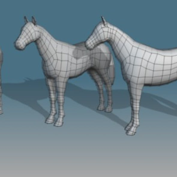 Lowpoly Horse Base Mesh