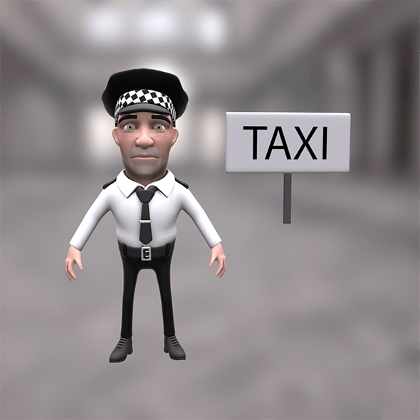Taxi driver cartoon character