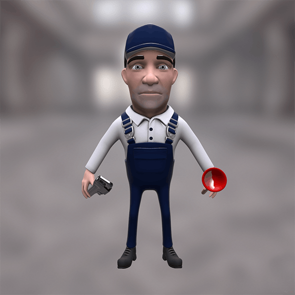 Plumber cartoon character with plunger