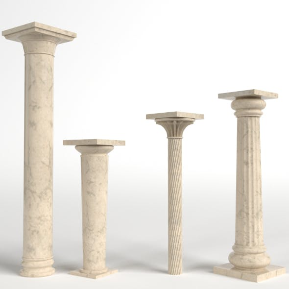 Columns set, collection (short, tall, fluted, with a simple capital)