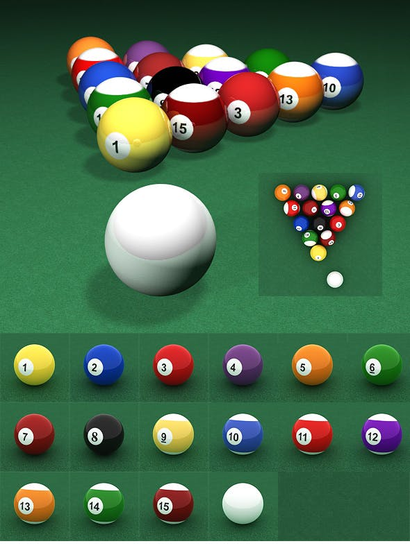 Billiard Ball Set - 3DOcean Item for Sale