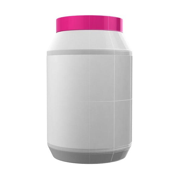 White Protein Bottle with Pink Cap