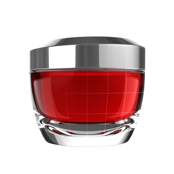 Red Glass Skincare Jar