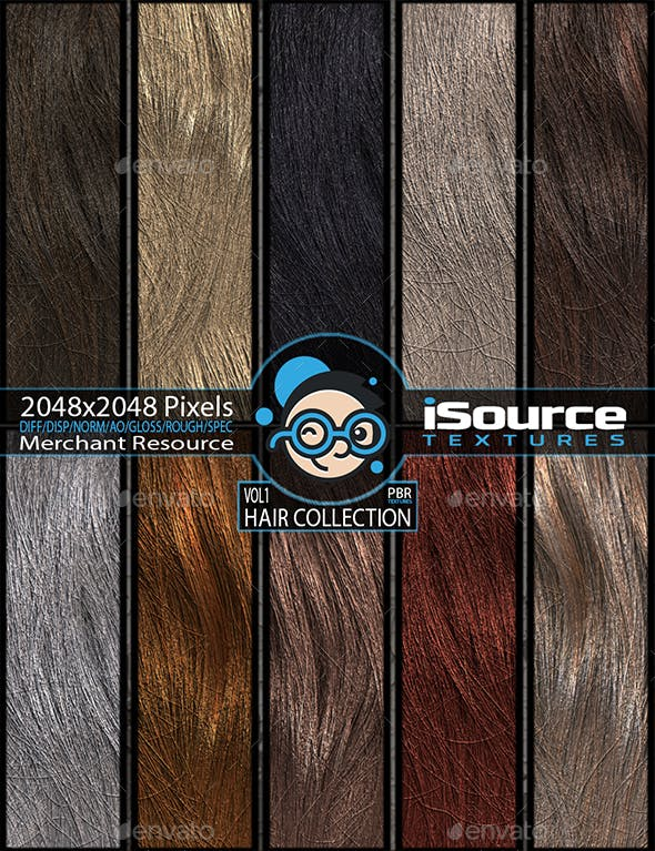 Hair Collection - Vol1(PBR Textures) Merchant Resource - 3DOcean Item for Sale